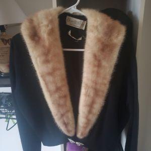Vintage Fur Collar Black Sweater size s/m